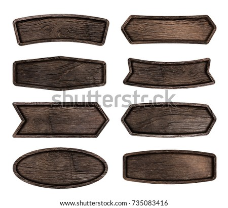 Wooden signboard isolated on white background, Objects with Clipping Paths for design work