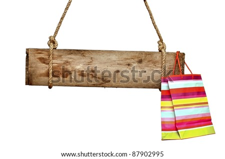 wooden signboard with shopping...