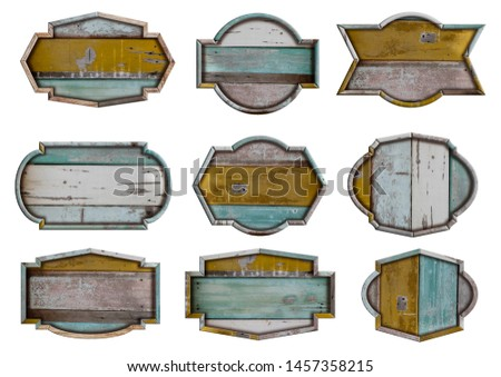 Wooden signboards banner set of shape boards wood sign, isolated on white background, Object with clipping path for design work