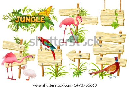 Wooden signboards, exotic birds and green leaves for covers, banners, applications, advertising. Illustration with space for text.