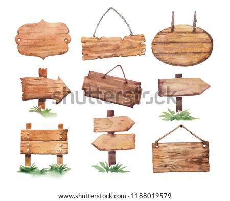 Wooden signboards watercolor
