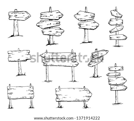 Wooden signboards, wood arrow sign set. Empty signboard banner collection isolated on white background. Coloring book