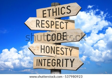 Wooden signpost - code of conduct (ethics, respect, code, honesty, integrity). Сток-фото ©
