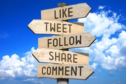 Wooden signpost - social media concept (like, tweet, follow, share, comment) - great for topics like communication etc.