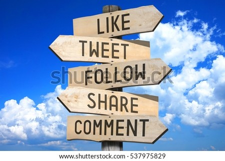 Photo of  Wooden signpost - social media concept (like, tweet, follow, share, comment) - great for topics like communication etc.