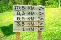 Wooden signs with arrows and distance in kilometres