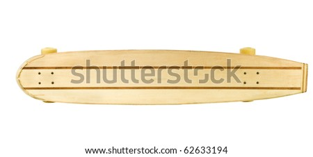 wooden skate board on a white background could be used for sign board
