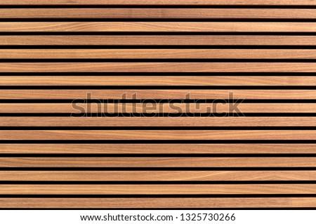 Wooden slats. Natural wood lath line arrange pattern texture background ストックフォト ©