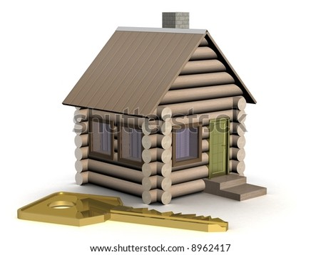 Wooden small house with a key. The isolated illustration. 3D image.