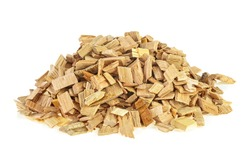 Wooden smoking chips for smoking on a white background. Wood smoking chips. Full depth of field.