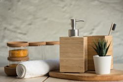 Wooden soap dish and toothbrush. Bath accessories. Wooden dispenser soap.