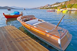 Wooden speed boat at the coast of Crete