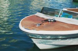 Wooden Speedboat. Detail.