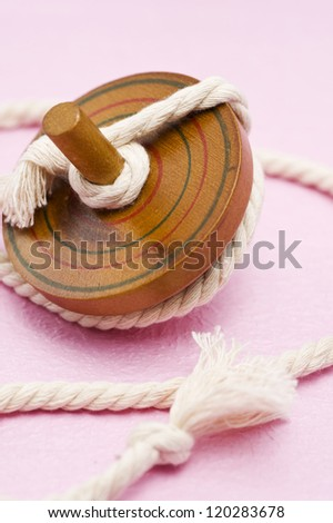 Wooden spinning Top with string of classic toy