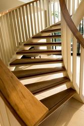Wooden spiral stair ./ Spiral stair.