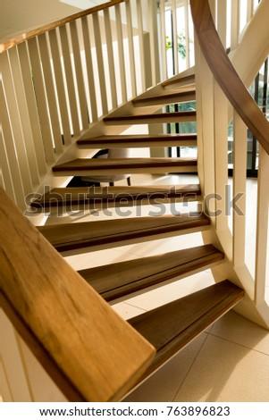 wooden spiral stair .  spiral...