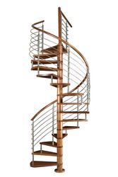 Wooden Spiral staircase isolated on white