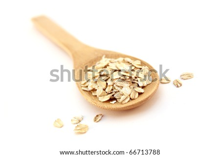 wooden spoon and oatmeal
