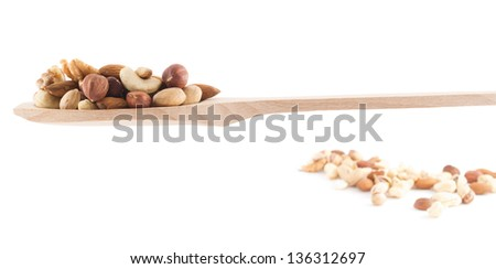 Wooden spoon full of almond, pistachio, peanut, walnut mix isolated over white background
