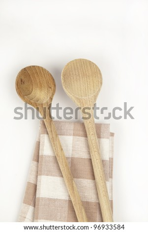 Wooden spoon on a napkin
