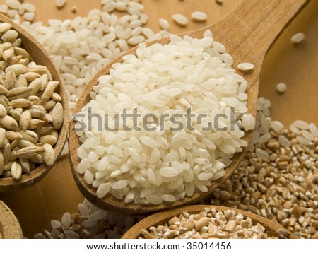 Wooden spoon with rice. Shallow DOF.