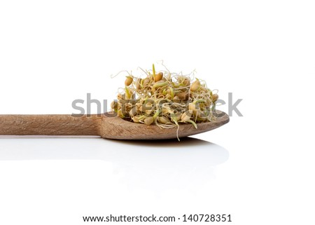 wooden spoon with wheat germs,  isolated over white