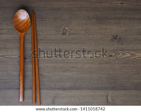Wooden spoon, Wooden chopsticks and Wooden board background  #1411018742