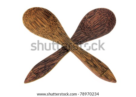 Wooden Spoons on White Background