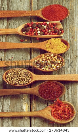 Wooden Spoons with Saffron, Sumac, Coriander, Dried Chili, Curry Powder, Mixed Pepper and Paprika on Rustic Wooden background. Retro Styled