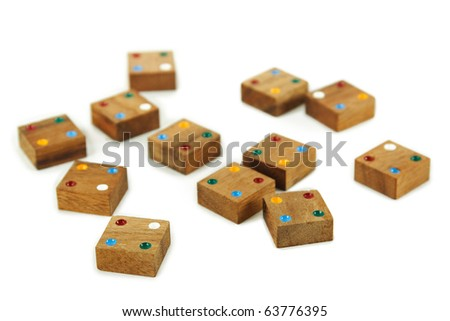 wooden square figures with color dots isolated