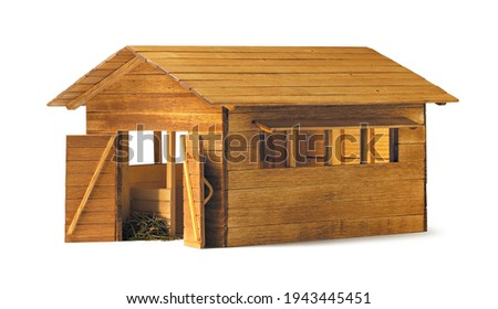 wooden stable, isolated on white background  Foto stock ©