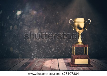 Wooden stage with golden winner's cup in spolight and copy space. Victory concept. 3D Rendering