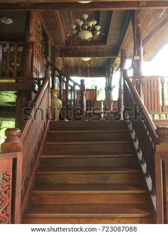 Wooden stairs #723087088