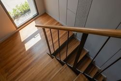 Wooden stairs architecture interior design of contemporary, Modern house building stairway