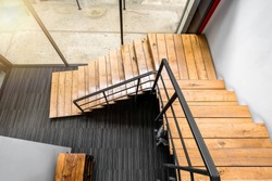 Wooden stairs at modern office, Interiors design