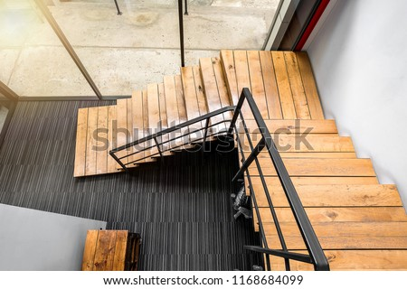 Wooden stairs at modern office, Interiors design  #1168684099