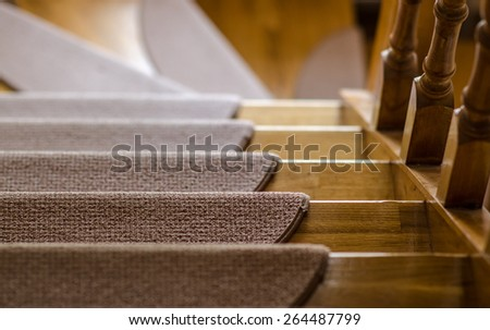 wooden stairs down stock photo