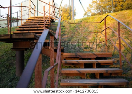 Wooden stairs for leisure activities.