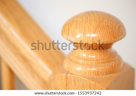 wooden stairs. Stair handrail closeup. -Image
