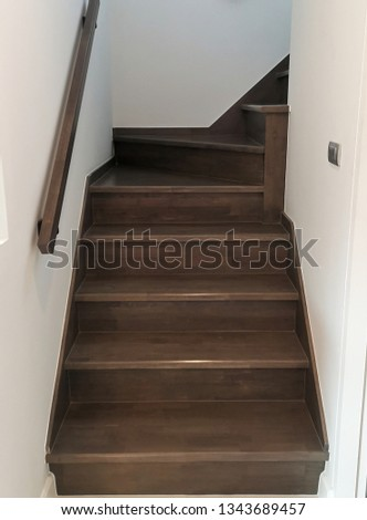 Wooden stairs. The construction of the stairs in the house. #1343689457