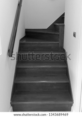 Wooden stairs. The construction of the stairs in the house. #1343689469