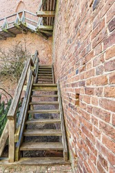 Wooden stairs to the medieval walls