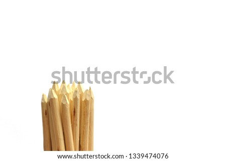 Wooden stakes on a white background. #1339474076
