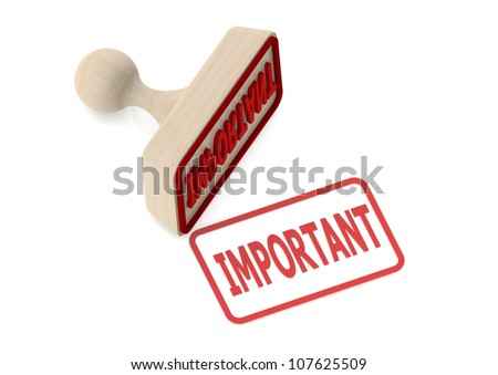 Photo of Wooden stamp with important word