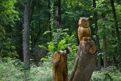 Wooden Statues of Owls in a forested park. Trees are visible, likely the same type the statues were cut from. Wood idol carvings in park perched animal carving ax chainsaw art in Ohio park.
