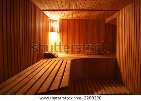 wooden steam room in sauna