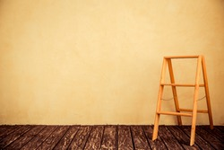 Wooden step-ladder in home