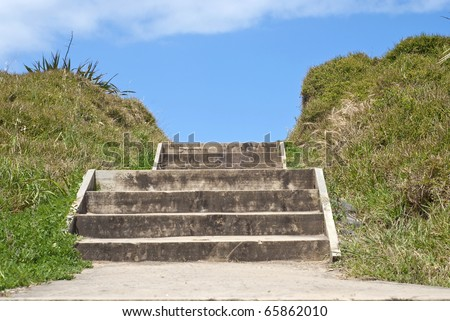 Wooden steps at a beach
