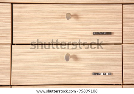 wooden stock drawer close up - Shutterstock ID 95899108