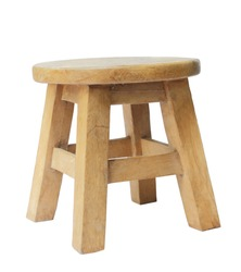 Wooden stool isolated by hand made isolated on white background, clipping path.
